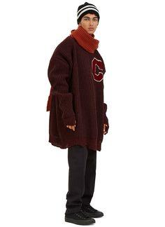 Raf Simons Oversized Destroyed Varsity Sweater   LN-CC