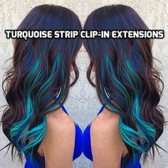 100% Human Hair Clip-in extension streaks Bright Turquoise colour strips You can simply clip in on to your hair to create the Colorful highlighted look in second! Since its 100% human hair, you can wash, curl or straightened! *TIP: Please clip them closer to your roots and where