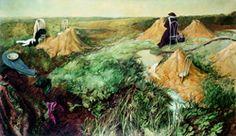 les Adieux, 1974,  Samuel Bak,  Oil on canvas  112x196 cm.  Collection of the artist