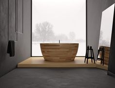 Munai bathtub by Unique Design | Munai bathtub is one of the most incredible wooden bathtub created by Unique Design. With special protection and regular ventilation can avoid this anyway. If the surface is damaged, then it can be easily sanded and repainted.  ➤To see more Luxury Bathroom ideas visit us at www.luxurybathrooms.eu #luxurybathrooms #homedecorideas #bathroomideas @BathroomsLuxury