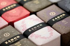 An exquisite soap package design in different colors.