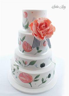 Summer handpainted wedding cake by Sadie May Cakes http://www.weddingheart.co.uk/sadie-may-cakes.html