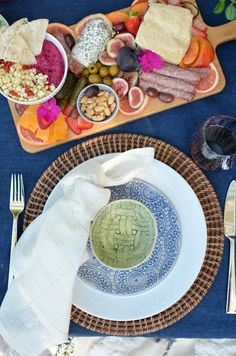 Blue and white table cloth, lenox wonki ware dinnerware, outdoor entertaining with tapas, wine and cheese // The Style Safari