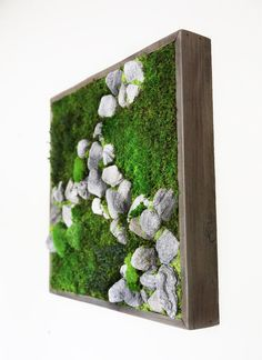 18x18 Plant Painting Natural Rock No Care Green Wall Art. by ArtisanMoss, $216.00
