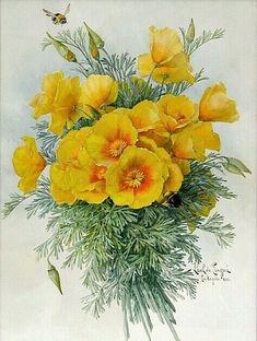 ♥ Paul de Longpré - California Poppies and Bees                 .....stilllifequickheart.tumblr.com