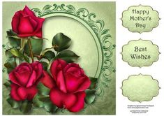 Red Tudor Roses 8x8 Quick Topper on Craftsuprint designed by Anne Lever - This lovely 8x8 square quick topper features gorgeous red roses. It has two greetings and a blank greetings tile. - Now available for download!