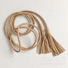 Braided leather belt with tassels