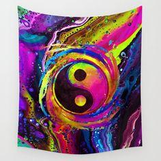 Spiral Lights Wall Tapestry by brizbazaar - Small: x Ying Yang Wallpaper, Hippie Wallpaper, Ying Y Yang, Yin Yang Art, Wolf Painting, Painting Art, Yin Yang Balance, Samurai Wallpaper, Medieval Shields
