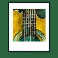This old Martin Acoustic Guitar  Watercolor Art Print by dfrdesign, $23.00