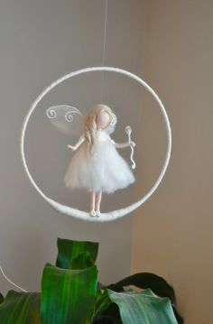 Birthday Gift /Nursery Mobile / Wall Hanging Fairy : White fairy with Crystal wand Birthday Gift /Nursery Mobile / Wall Hanging Fairy : by MagicWool Wet Felting, Needle Felting, Wool Dolls, Felt Dolls, Ballerina Ornaments, Ornament Pattern, Felt Fairy, Angel Crafts, Flower Fairies
