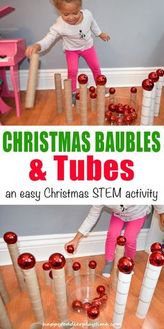Tubes and Christmas Baubles - HAPPY TODDLER PLAYTIME This is the easiest Christmas activity ever. You only need 2 things and one excited kid! Build, knock them down, repeat! #stemforkids #christmascrafts #kidsactivities