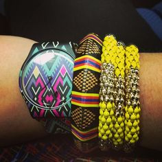 Stacking watches/bracelets in different colors and patterns is so fun!
