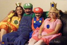 Tina: From left to right : mom : princess daisy , dad: Luigi , kaydence: mario, Kaylee: princess peach most of them homemade costumes and the idea came from kaydence because...