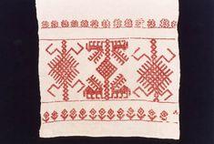 Stitched with doube running stitch / my favourite stitch Folk Embroidery, Viking Age, Running Stitch, Scandinavian Design, Flower Designs, Finland, Vikings, Needlework, Birches