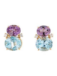 Rina Limor 11.50ctw Blue Topaz, Amethyst and Diamond Earrings