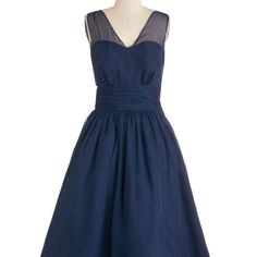 Professionally posh dress in navy EUC no stretch ModCloth Dresses