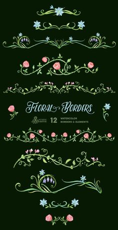 by OctopusArtis Clipart, Cross Stitch Embroidery, Embroidery Patterns, Cross Stitch Patterns, Embroidery Suits, Border Tattoo, Floral Frames, Mothers Day Drawings, Watercolor Border