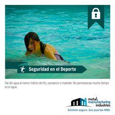 Si sientes un malestar o algún indicio de frío, cansancio, etc. sal inmediatamente del agua para evitar un accidente. #SeguridadDeportiva