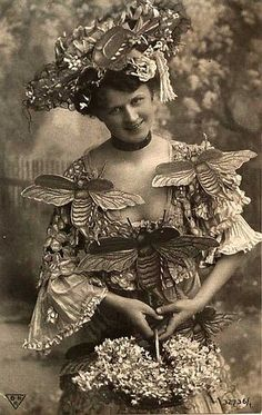 Photo of a Woman Wearing Bumble Bee Fashion, 1900s