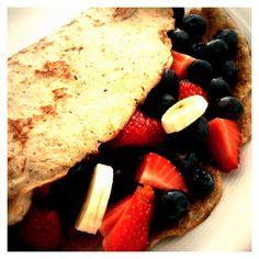 Ontbijt: havermoutpannenkoek met fruit