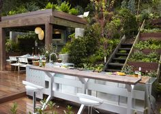 Check out this amazing oudoor kitchen design from Jamie Durie! Outdoor Areas, Outdoor Rooms, Outdoor Living, Outdoor Decor, Outdoor Kitchens, Outdoor Retreat, Barbacoa, Garden Furniture, Outdoor Furniture Sets
