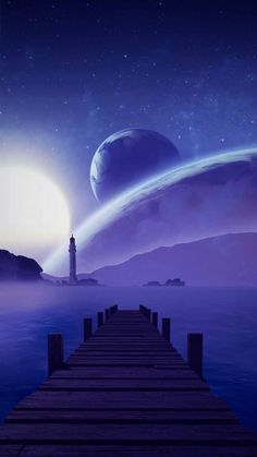 Space Planets Lighthouse Pier - IPhone Wallpapers