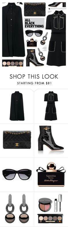 """""""Monochrome: All Black Everything"""" by anyasdesigns ❤ liked on Polyvore featuring Valentino, Gucci, Chanel, Yves Saint Laurent, Salvatore Ferragamo, Yoko London and Bobbi Brown Cosmetics"""