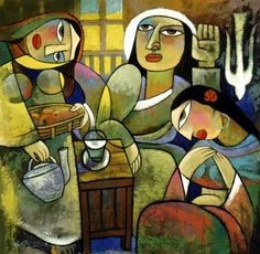 Martha and Mary with Jesus - He Qi; Martha's name means 'lady of the house'. She offered hospitality and served others. Mary's name means 'wise woman' or 'lady'. Mary listened to the instruction of Jesus and acted to anoint him before his death on the cross. They were sisters and friends of Jesus.