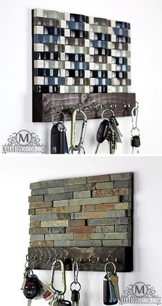 Key Rack - Key Holder by Makarios Decor - Key Organizer Key Rack, Hook Rack, Tile Projects, Projects To Try, Leftover Tile, Wall Key Holder, Tile Crafts, Key Organizer, Key Hooks