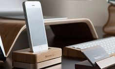Bamboo & Gold iPhone Docking Station  Desk by MaderacraftHandmade