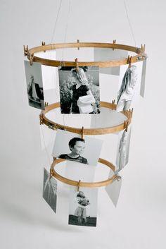 DIY Embroidery Hoop Photo Display