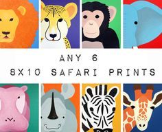 Nursery Art Safari Animal Prints for baby / Child by Wallfry, $60.00