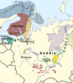 the Mari, in older documents they are referred to as the Cheremis. They are distant cousins of the Finns and Estonians, speaking a Uralic language. On the map their territory is shown in a dark army green color, south of the word Russia, and north of the Volga. There is another settlement shown east of the Kama river.
