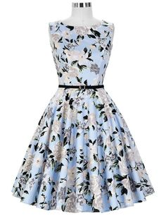 50s Retro Style Sweet Floral Audrey Hepburn Inspired Swing Dress