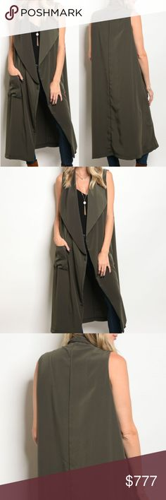 COMING SOON! WILL BE $45 COMING SOON BRAND NEW BOUTIQUE ITEM PRICE IS FIRM   CHIC & CLASSY Sleeveless long line vest with pocket details featured in a gorgeous olive green color! 100% POLYESTER model is wearing a size small . Tops