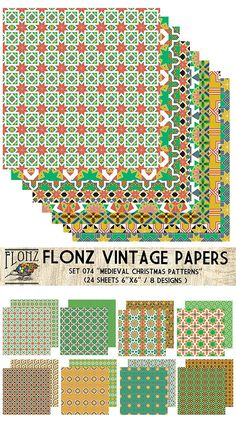 Paper Pack (24sh 15x15cm) Medieval Christmas Patterns FLONZ Vintage Paper for Scrapbooking and Craft