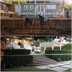 We added a retaining wall to create 2 levels on a sloping hill. Interior Design Work, Castle House, Brick, Yard, Mansions, House Styles, Create, Home Decor, Patio
