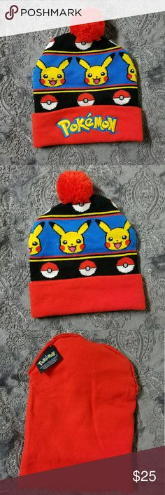 CUTE POKEMON Pikachu Pokeball pom beanie NWOT Up for sale is a SUPER adorable Pokemon Pikachu and Pokeball beanie. Colors are true to pics, nice and vibrant. You'll be ready to catch em all. 😜 It would best fit a small adult or teen head. See measurements, it actually doesn't have much stretch.  It is somewhat thick. Please note it is brand new without tags. Never worn, no flaws.   Thanks for looking and please ask any questions!! ❤❤ Pokemon Accessories Hats