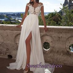 Elegant see-through lace top white chiffon long Prom Dress with sleeves, 2016 new evening dress for teens #coniefox
