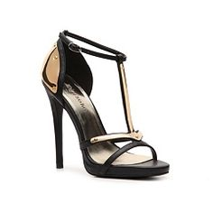 03e9ebe2f76 Black and gold Midway heels MISMATCHED