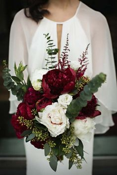 November Wedding Bouquet Bridal Bouquets Fall Flowers Arrangements, dark red peonies Fall Wedding Bouquets, Flower Bouquet Wedding, Wedding Dress, Bridal Bouquets, Winter Bouquet, Winter Flowers, Mod Wedding, Trendy Wedding, Perfect Wedding