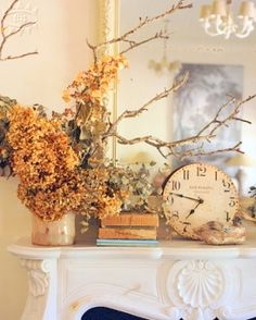 Hydrangeas, old books, clock, beautiful white marble mantle Ticking and Toile: September 2010