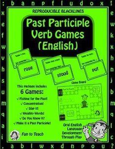 Grades 2-8 Past Participle Past Tense Verb Game- English Grammar and Vocabulary… #share Hashtags: #MaVi #Grammar