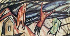 Untitled (Three Figures) via Pavel Filonov Medium: oil on cardboard