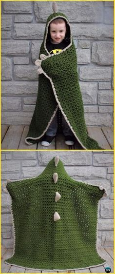 Crochet Hooded Dinosaur Blanket Free Pattern - Crochet Hooded Blanket Free Patterns