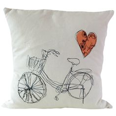 Hand embroidered bike cushion