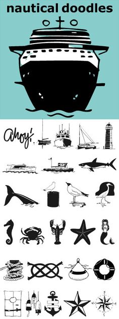 Sail the seas with Nautical Doodles. This seaworthy font has 32 illustrations of water craft, anchors, star, compass, flags, whale, shark, birds, starfish, seahorse, rope etc. Even a mermaid... and the scripted word Ahoy!