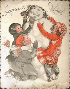 Making a Snowman! ~ Vintage French Christmas Postcard