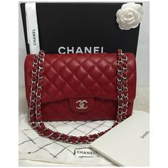 Pre-owned Chanel Shoulder Bag ($6,500) ❤ liked on Polyvore featuring bags, handbags, shoulder bags, apparel & accessories, wallets & cases, red purse, quilted purse, flap handbags, chanel handbags and pre owned handbags