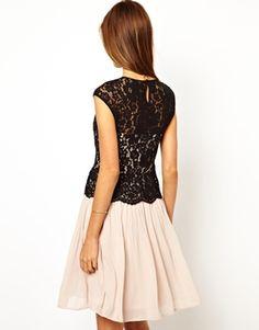 Image 2 of Warehouse Lace Bodice Pleated Dress